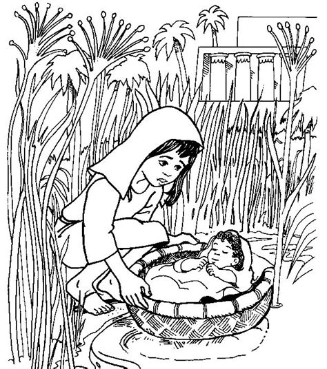 baby moses coloring page baby moses in a basket coloring pages