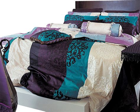 bedroom cover sets turquoise purple black damask queen duvet cover set