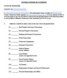 free general power of attorney tennessee form adobe pdf   general