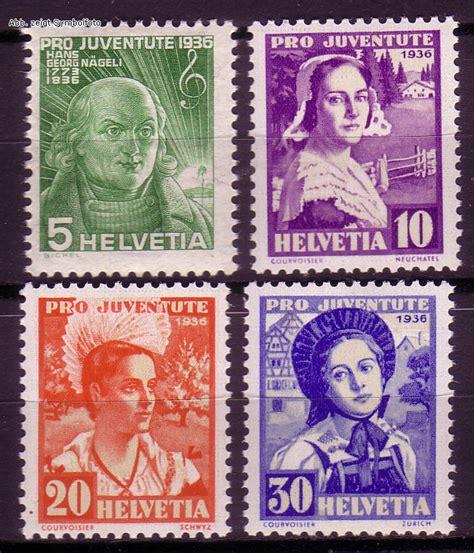 Schweiz Briefmarken Kaufen Briefmarken Schweiz Michel Nr 306 309 Pro Juventute 1936 Postfrisch G 252 Nstig Kaufen Im