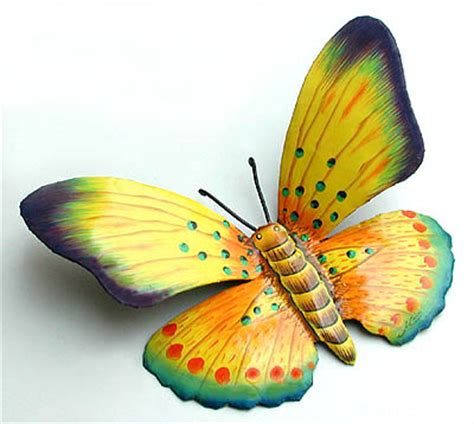 yellow painted metal butterfly outdoor wall decor