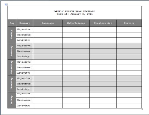monthly lesson plan template weekly lesson plan format