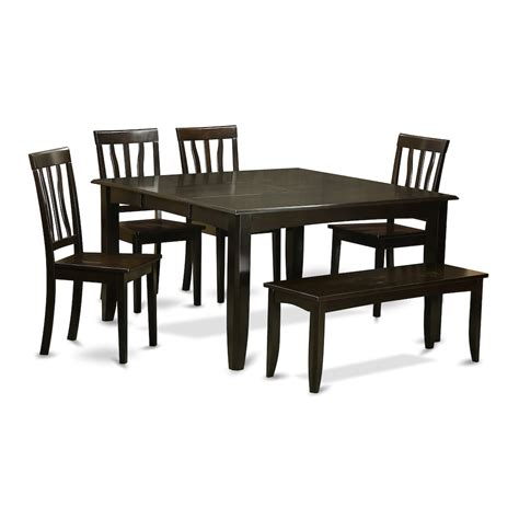 6 pc dining table set 6 pc dining room set with bench table with leaf and 4