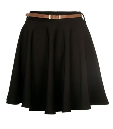 new womens black high waisted skater skirt size 8