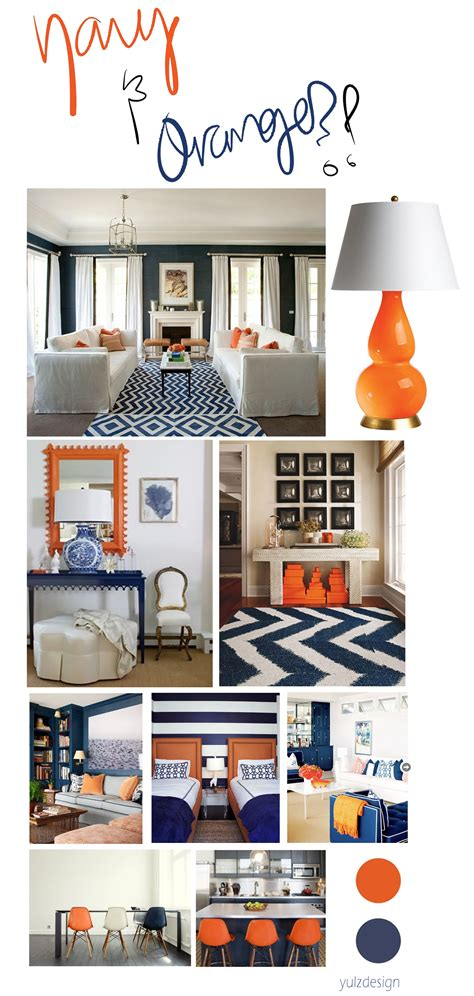 navy and orange living room splashes of navy orange yulzdesign