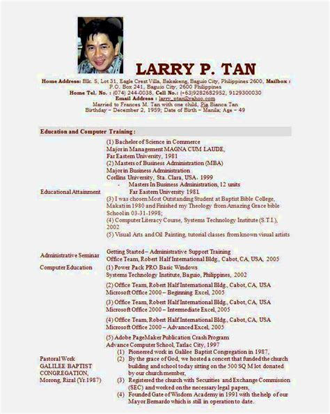 sample of personal information in resume 5613