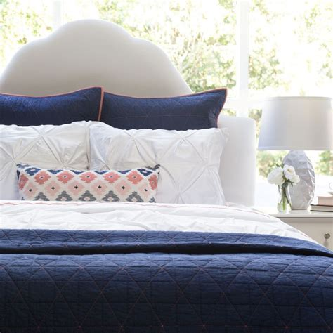 the box stitch navy blue quilt sham crane canopy