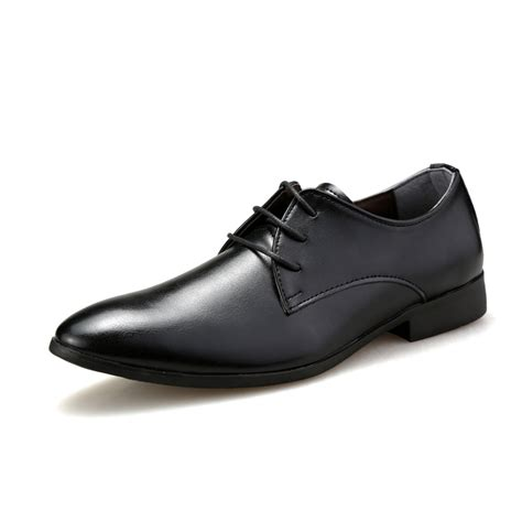 simple classic style mens business leather shoes black