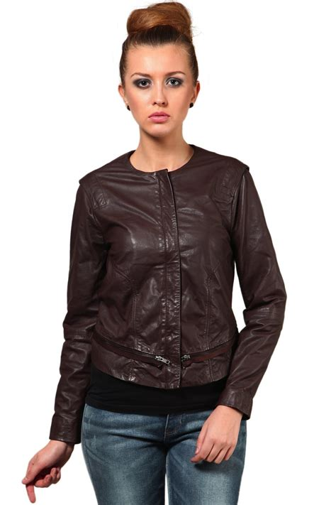 Circle Leather Jacket neck brown leather jacket winter jackets for