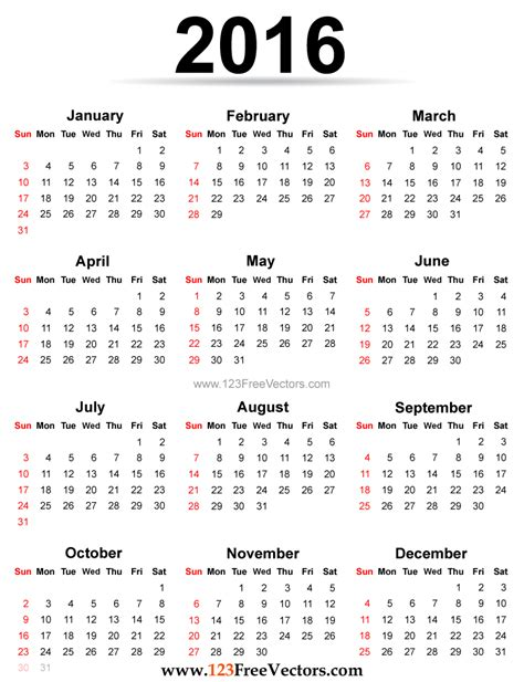 Printable Calendar 2016 For Planner | 2016 calendar printable free by 123freevectors on deviantart