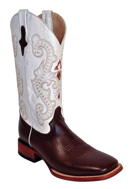 mens ferrini boots ferrini western cowboy mens chocolate white cowhide boots