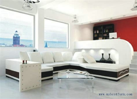 quality living room furniture free shipping u shaped 2 color leather sofa high quality