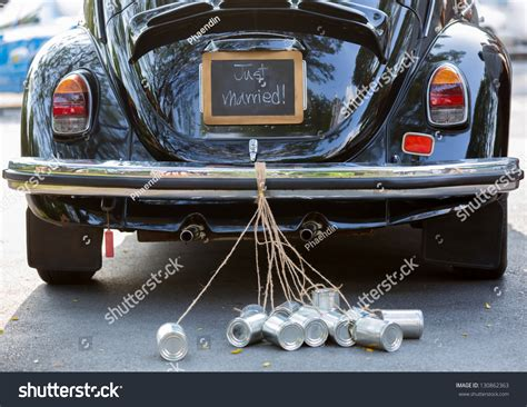 Wedding Car Cans by Vintage Wedding Car With Just Married Sign And Cans
