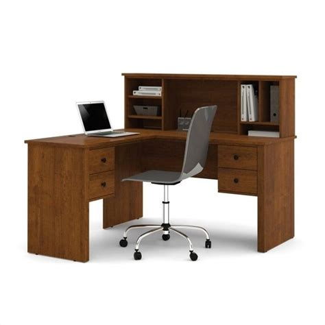 L Desk With Hutch Bestar Somerville L Shaped Desk With Hutch In Tuscany Brown 45850 63