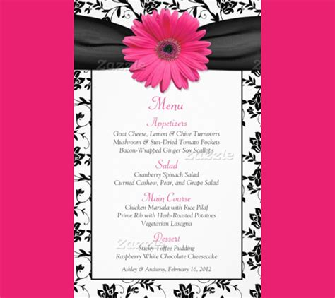 sle dinner menu template blank menu cards wedding reception wedding invitation ideas