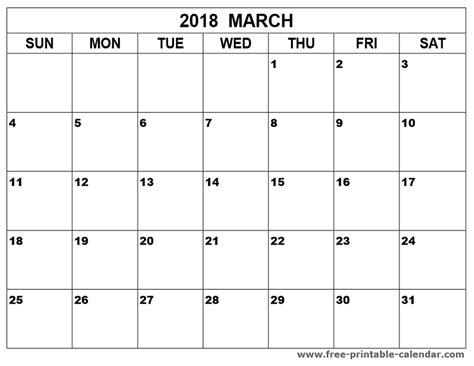 Calendar March 2018 March 2018 Calendar Printable