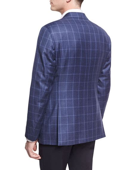 light blue windowpane sport coat giorgio armani tonal windowpane wool two button