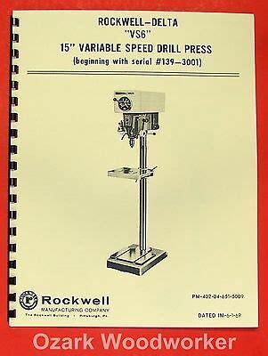Delta Rockwell 15 Quot Drill Press 15 090 15 091 Instructions