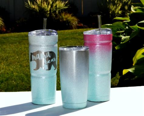 spray paint yeti cup ombre spray painted glitter cold cup teodoro