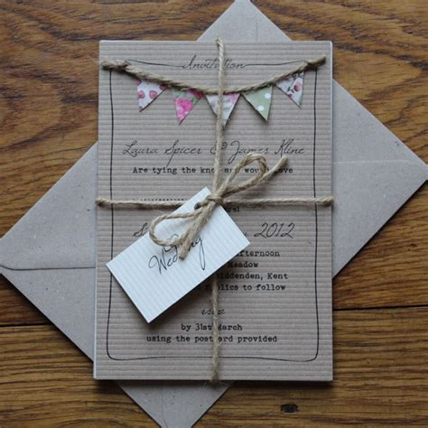 Wedding Invitation Handmade - best 25 bunting invitation ideas on rustic