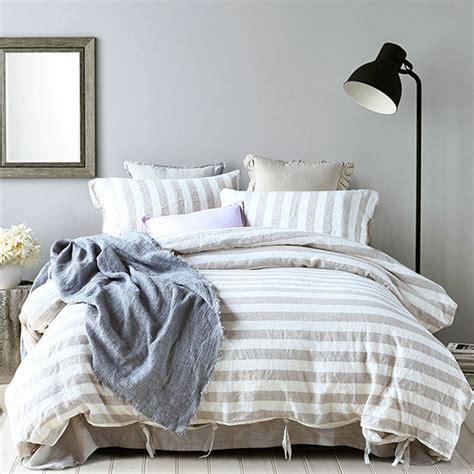 yarn dyed stripe linen bed linen duvet cover sets pure