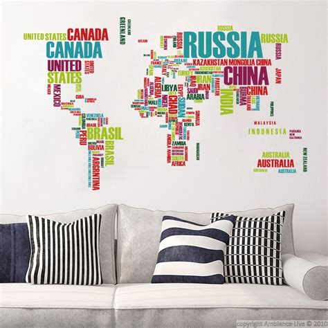 world map with country names decal wall decals world map made of country names wall decals