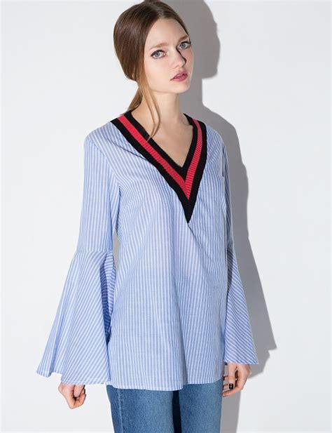 Flowy Stripe Bell Sleeve Top stripe varsity bell sleeve top
