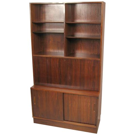 Bookcase With Drop Desk by Poul Hundevad Rosewood Wall Unit Bookcase With Drop Desk