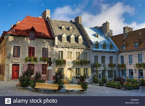buy house in quebec canada north america old quebec quebec royal square architecture city stock photo