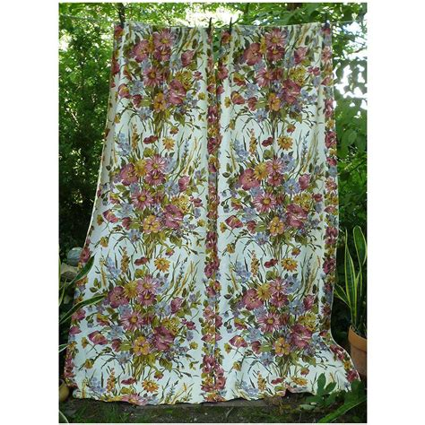vintage barkcloth curtains clusters of flowers leaves vintage barkcloth drapes