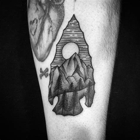 ancient ink tattoo 3d like black ink ancient arrow on