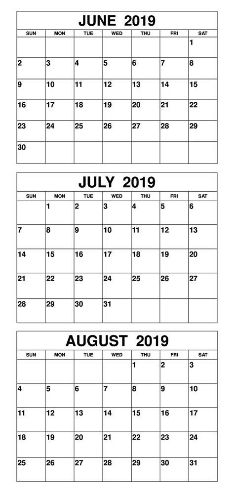blank june july  calendar printable template magic
