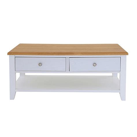 debenhams oak effect and white coffee table with