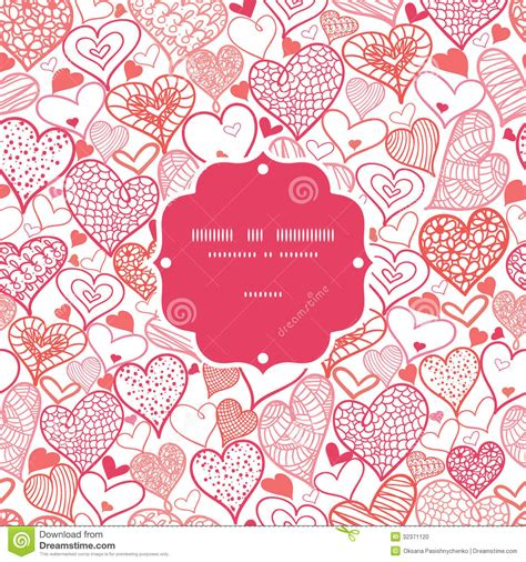 seamless heart pattern vector romantic doodle hearts frame seamless pattern stock vector
