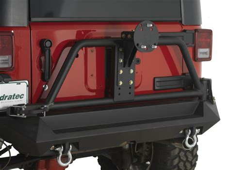 Jeep Tj Rear Tire Carrier Bumper Fab Fours Rear Bumper With Tire Carrier In Textured Black