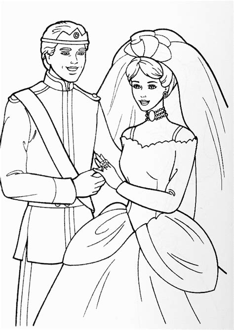 disney coloring pages barbie barbie and prince wedding disney coloring pages kids