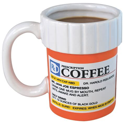 Prescription Mug Pill Bottle Coffee Cup Pharmacy 12 oz. Rx   Big Mouth Toys   eBay