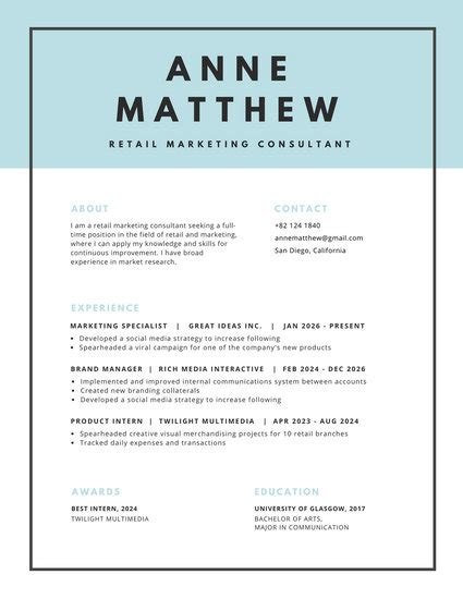 Blue Header With Black Border Minimalist Resume Templates By Canva Resume Template With Border