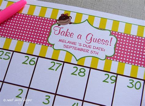 printable due date calendar baby shower game by