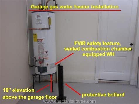 garage gas water heater installation requirements