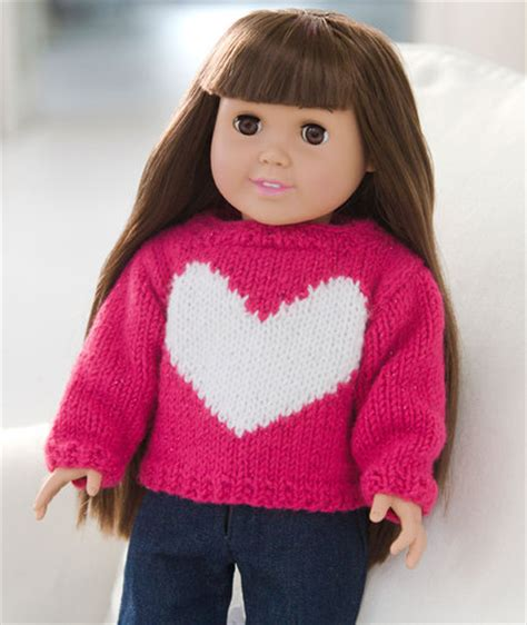 knitting pattern jumper with heart love my doll sweater red heart