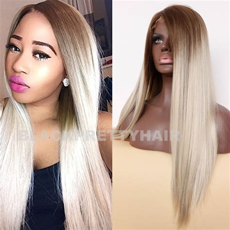 straight hair with black and brown at bottom top quality brown blonde ombre straight hair wig dark root