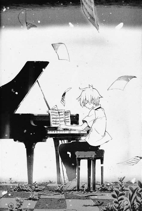 anime piano anime boy playing piano sheet music art anime cartoon