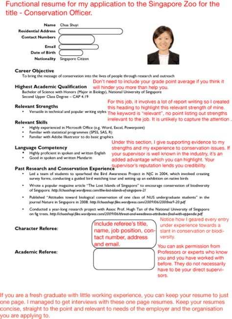 format cv singapore sle resumes job hunter s guide