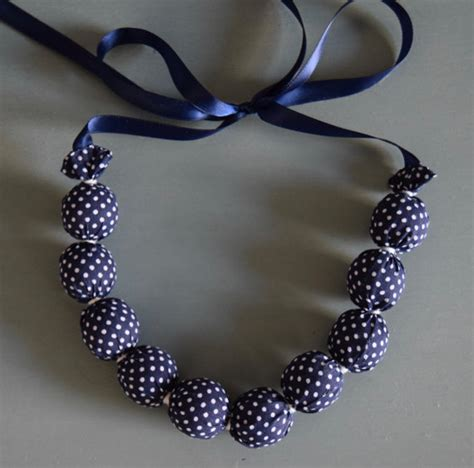 Handmade Fabric Necklaces - handmade fabric bead necklace navy blue white polka dots