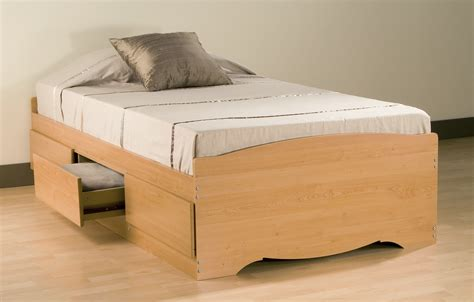 Jerome Furniture Clearance by Prepac Maple Platform Storage Bed 3 Drawers