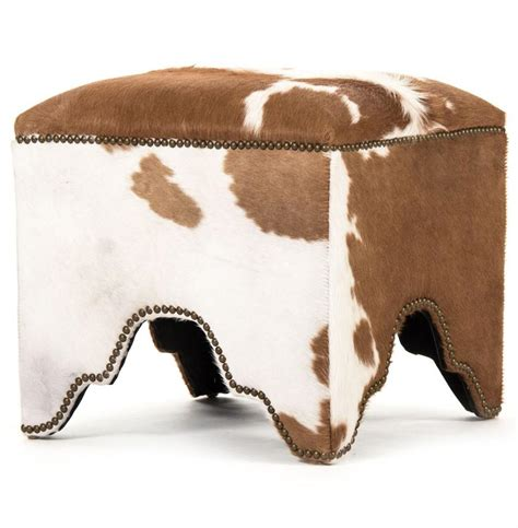 Dunia Hollywood Regency Modern Rustic Cow Hide Square Cow Ottoman