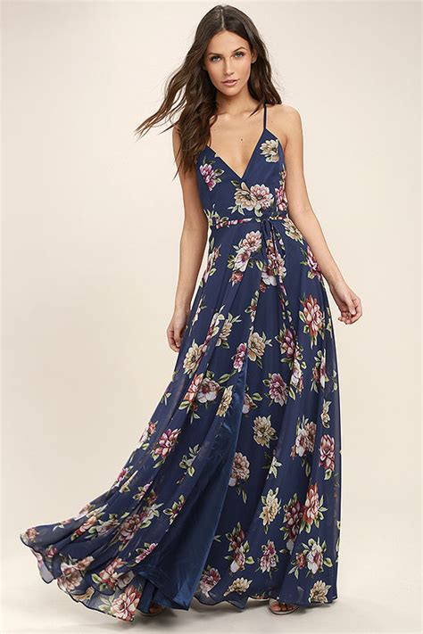 Maxi Flowery lovely navy blue floral print dress maxi dress wrap