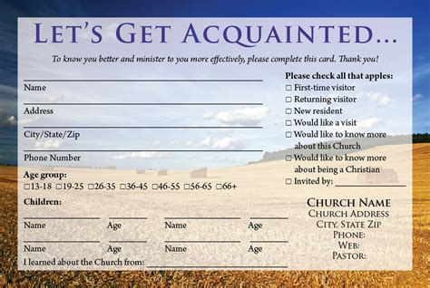 church volunteer info card template visitors on welcome packet church and card