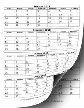 printable calendar 2018 three months per page printable 2018 calendar four months per page